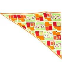 hermes vintage maxi pointe scarf orange/multicolor sz: