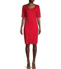 wool-blend elbow-sleeve dress