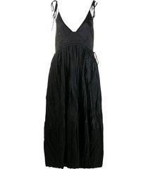 jil sander crinkle-effect midi dress - black
