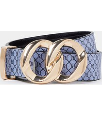 river island womens navy ri double ring buckle belt
