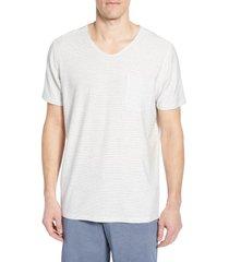 men's daniel buchler thin stripe v-neck stretch cotton & modal t-shirt, size medium - grey