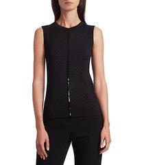 akris punto women's sleeveless metallic sequin knit top - black - size 12