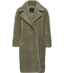 penny coat long outerwear faux fur grön ravn