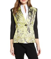 women's ming wang leaf print mixed media jacket