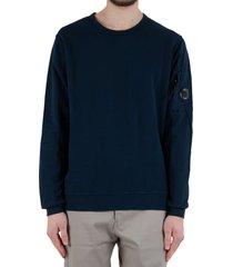 diagonal fleece lens crew sweater - blue
