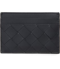 men's bottega veneta woven leather card case - black