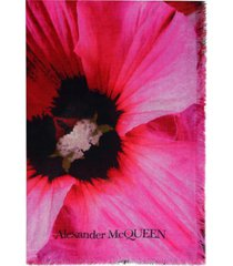 alexander mcqueen frayed edges printed shawl