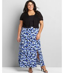 lane bryant women's pull-on matte jersey maxi skirt with slit 26/28 blue geometric print