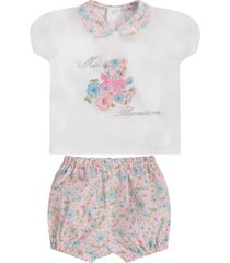 blumarine colorful babygirl suit with rhinestoned logo
