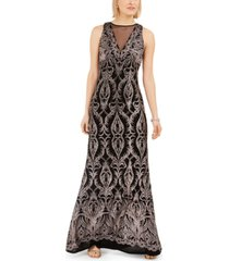 r & m richards glitter illusion-neck gown