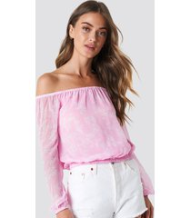 na-kd boho chiffon off shoulder blouse - pink