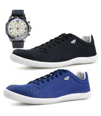 kit 2 pares sapatenis neway sw preto + azul + relógio