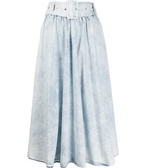 msgm stonewashed belted a-line midi skirt - blue