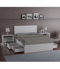 cama queen foscarini 22880 com 4 gavetas 100% mdf branco