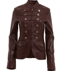 womens brown military style leather blazer jacket, womens brown color blazer