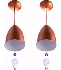 kit 2 lustre pendente cone de alumínio 20x14cm cobre + lampa