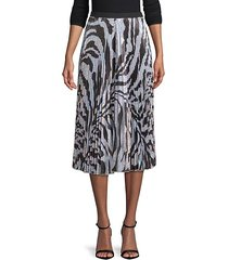clara pleated zebra-print midi skirt