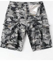 zipper fly oil paint print casual cargo shorts