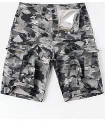 zipper fly oil paint print casual cargo shorts
