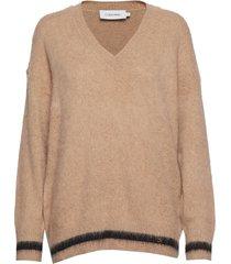 brushed tipping v-nk sweater gebreide trui beige calvin klein