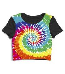 blusa blusinha cropped tshirt camiseta tie dye colorido colors preto