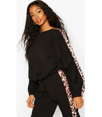 colour block leopard oversized sweater, black