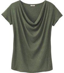 shirt met watervalhals, smaragd 34