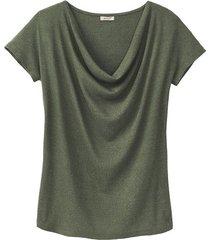 shirt met watervalhals, steengroen 36/38
