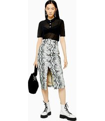 snake effect pu pencil skirt - sage