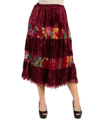 24seven comfort apparel wine colored velvet midi skirt