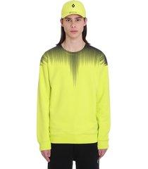 marcelo burlon falls wings sweatshirt in yellow cotton