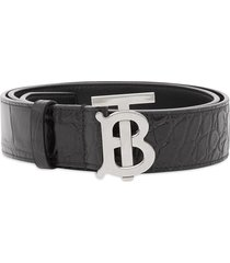 burberry monogram motif embossed belt - black
