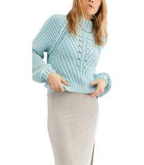 women's free people sweetheart mock neck sweater, size large - blue