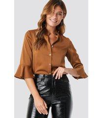 rut&circle jolli frill sleeve blouse - brown,copper