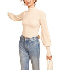 women's reformation osteria open back cashmere sweater, size x-large - white
