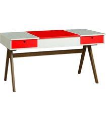 mesa escrivaninha delacroix 430 nogal/branco/vermelho - maxima
