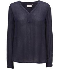 amber l/s blouse- min 2 blus långärmad blå kaffe