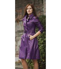 women genuine 100 % lamb skin slim fit  leather designer long trench coat-nv-17
