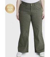 jeans palazzo 2 botones verde curvi