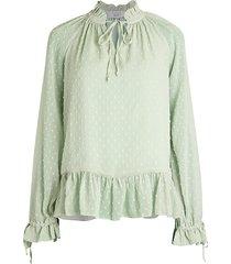 cistar new york women's textured dots peplum blouse - mint - size m