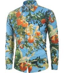 3d tangerine print long sleeves shirt