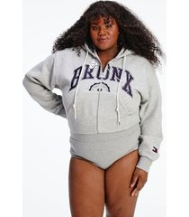 tommy hilfiger women's tommyxindya zip hoodie bodysuit light grey heather - xxxl