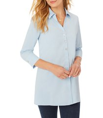 women's foxcroft pamela stretch button-up tunic, size 8 - blue