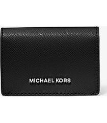 mk portafoglio piccolo in pelle a grana incrociata - nero/grigio (grigio) - michael kors