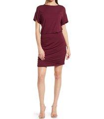 women's socialite ruched blouson dress, size x-small - burgundy