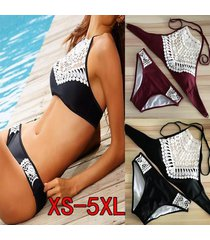 women's fashion sexy swimsuit high neck hollow out crochet crop top bikini set s
