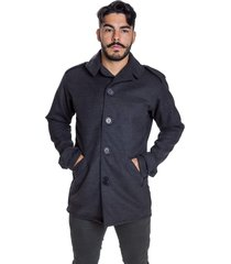 sobretudo casaco lã batida trench coach cinza - kanui