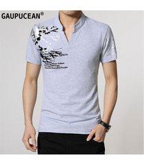 camiseta manga corta gaupucean para hombre-gris