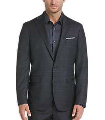 cole haan grand. os charcoal plaid coolmax lined slim fit suit