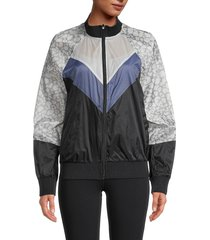 max studio women's printed full-zip jacket - black multi - size xs